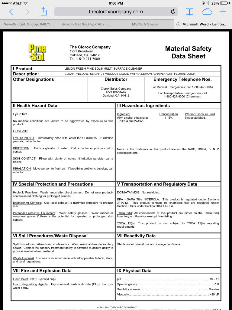 Material Safety Data Sheet Msds Construction Clean
